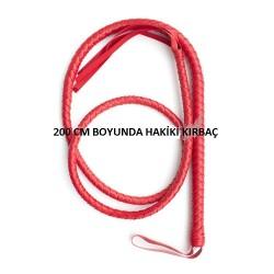 [784] 200CM Deri Kırbaç Kırmızı