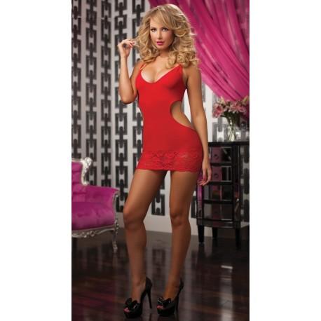 [999]Kırmızı Mini Arkadan Dekolteli Elbise